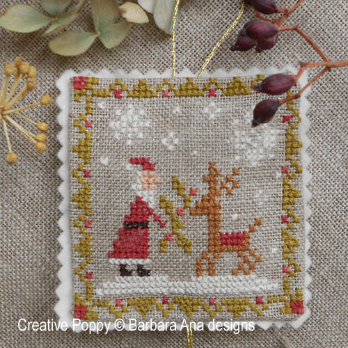 Christmas ornament Trio cross stitch pattern by Barbara Ana Designs, zoom 1