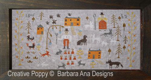 Skinny Wolf Farm cross stitch pattern by Barbara Ana Designs