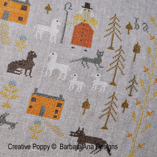 Skinny Wolf Farm cross stitch pattern by Barbara Ana Designs, zoom 1