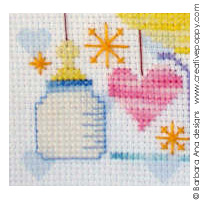 New Baby by Barbara Ana - Cross stitched on printed aida