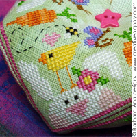 <b>Spring Biscornu</b><br>cross stitch pattern<br>by <b>Barbara Ana Designs</b>