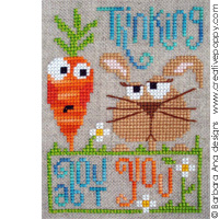 Thinking about you - cross stitch pattern - by Barbara Ana Designs