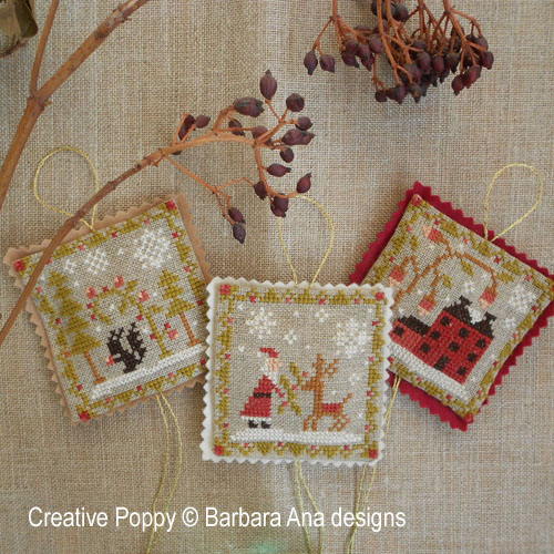 barbara ana designs christmas ornament trio cross stitch pattern - Cross Stitch Christmas Decorations