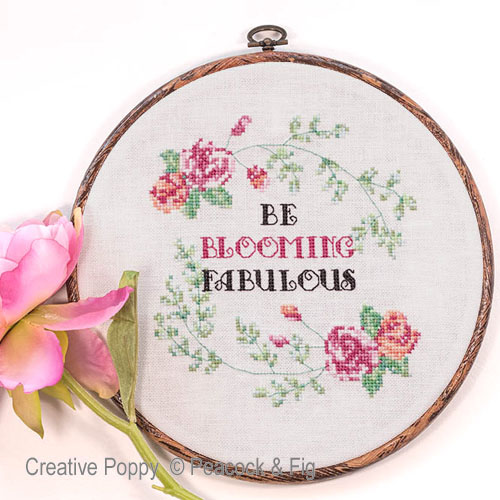 Be Blooming Fabulous cross stitch pattern by Peacock & Fig