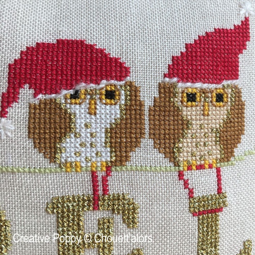 Four Christmas Owls cross stitch pattern by Chouett'alors, zoom 1