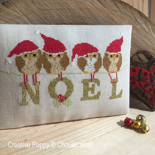 Four Christmas Owls cross stitch pattern by Chouett'alors