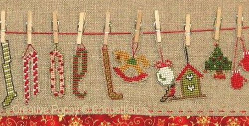 Christmas laundry line - Advent calendar cross stitch pattern by Chouett'alors, zoom 1