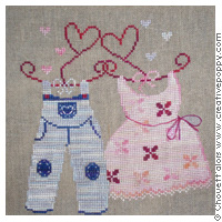 Valentine (his & hers) - cross stitch pattern - by Chouett'alors