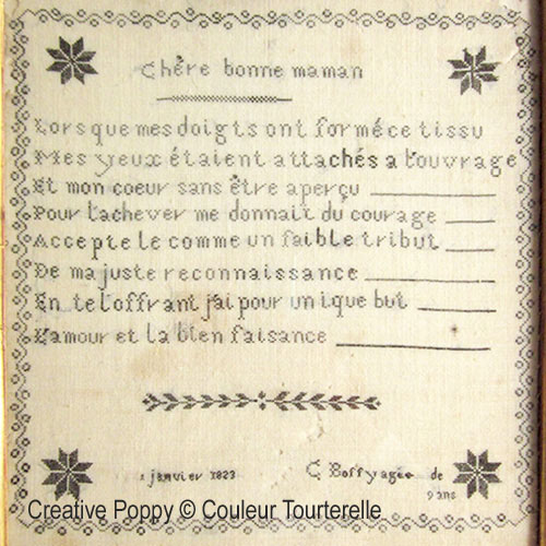 c. Boffy 1823 cross stitch Original sampler