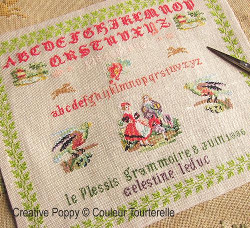Celestine Leduc 1886 cross stitch reproduction sampler by Couleur Tourterelle