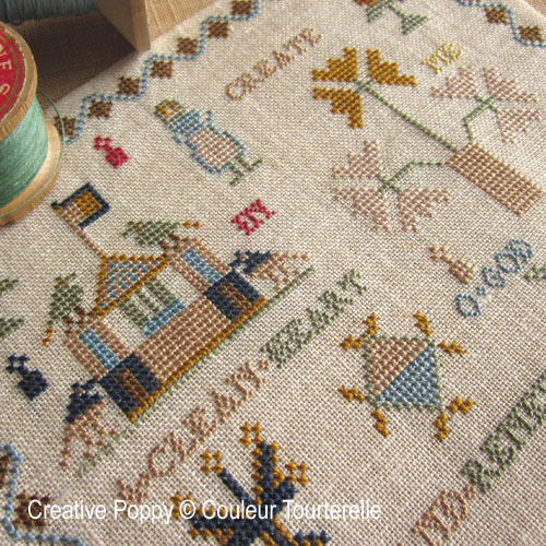 Create in Me a Clean Heart cross stitch reproduction sampler by Couleur Tourterelle