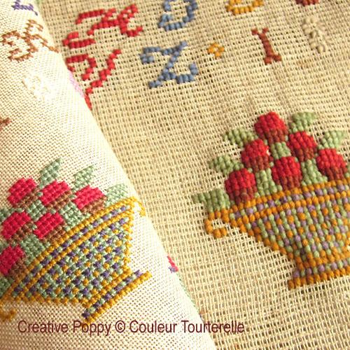 Françoise Cusin 1867 cross stitch reproduction sampler by Couleur Tourterelle, zoom 1