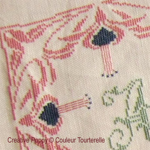 Gilberte Maleinge 1924 cross stitch reproduction sampler by Couleur Tourterelle, zoom 1