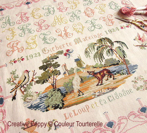 Gilberte Maleinge 1924 cross stitch reproduction sampler by Couleur Tourterelle