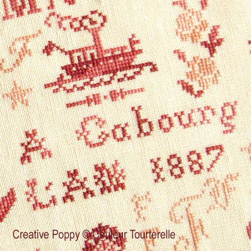 Hortense de Frocourt 1887 (Reproduction Sampler) cross stitch reproduction sampler by Couleur Tourterelle, zoom 1