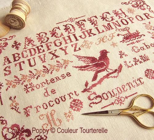 Hortense de Frocourt 1887 (Reproduction Sampler) cross stitch reproduction sampler by Couleur Tourterelle