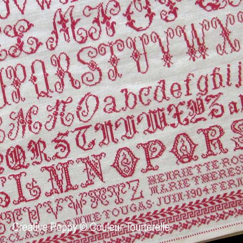 Madame Tougas - 1904 cross stitch reproduction sampler by Couleur Tourterelle
