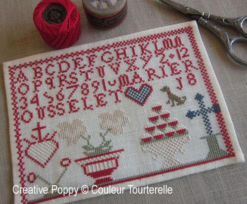 Marie Rousselet cross stitch reproduction sampler by Couleur Tourterelle