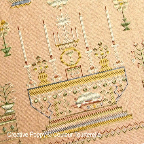 Marthe Bouquière cross stitch reproduction sampler by Couleur Tourterelle, zoom 1