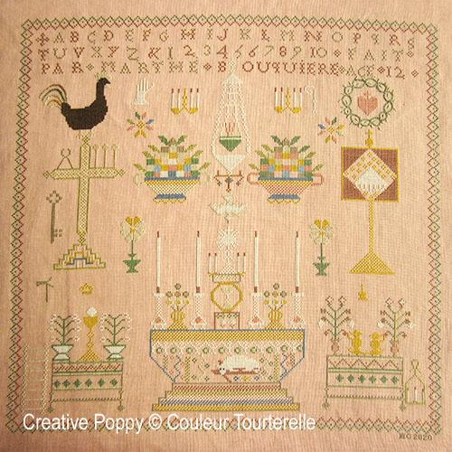 Marthe Bouquière cross stitch reproduction sampler by Couleur Tourterelle