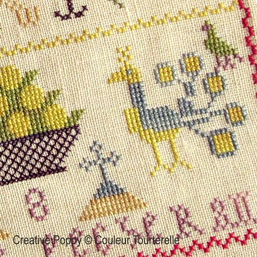 Mathilde Pecherans cross stitch reproduction sampler by Couleur Tourterelle, zoom 1