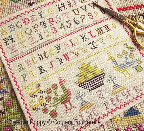 Mathilde Pecherans cross stitch reproduction sampler by Couleur Tourterelle