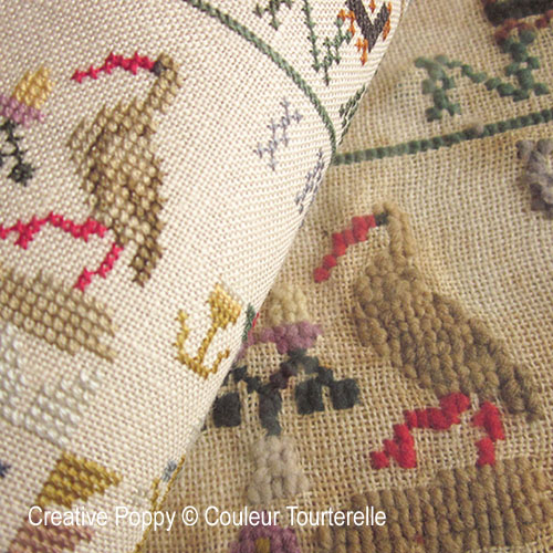 Mina Nagelhout 1864 cross stitch reproduction sampler by Couleur Tourterelle, zoom 1