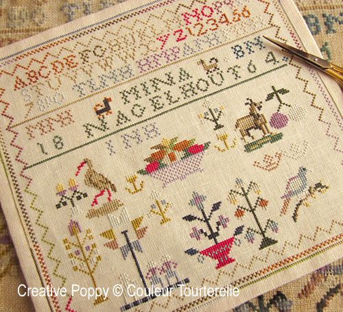 Mina nagelhout 1864 cross stitch reproduction sampler by Couleur Tourterelle