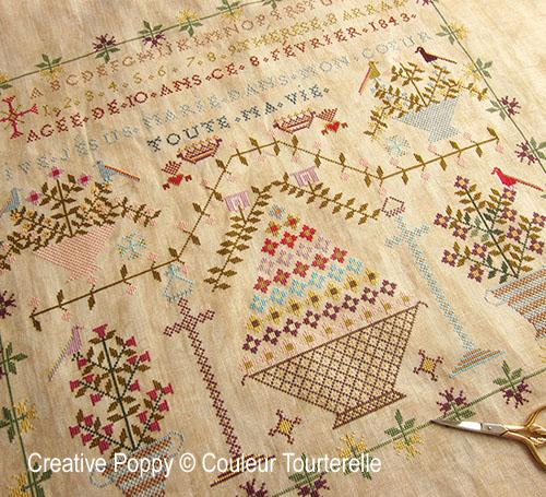 Thérèse Barral 1843 cross stitch reproduction sampler by Couleur Tourterelle