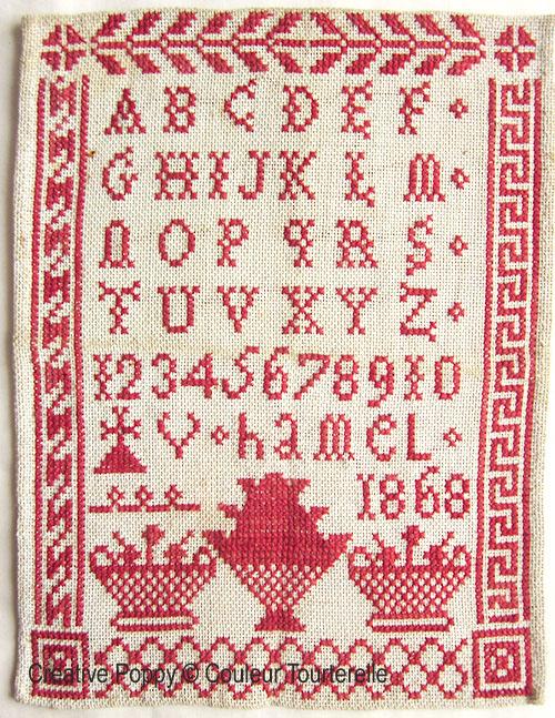 V Hamel 1868 cross stitch reproduction sampler by Couleur Tourterelle