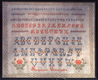 Antique sampler: Marguerite Christophle - Reproduction sampler - charted by Muriel Berceville