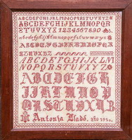 Antique sampler of Spanish origin Antonia - Reproduction sampler - charted by Muriel Berceville