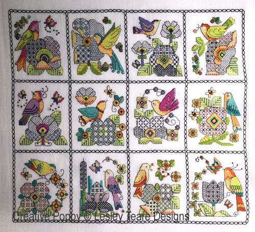 12 Birds and Blackwork Flowers cross stitch pattern by Lesley Teare Designs