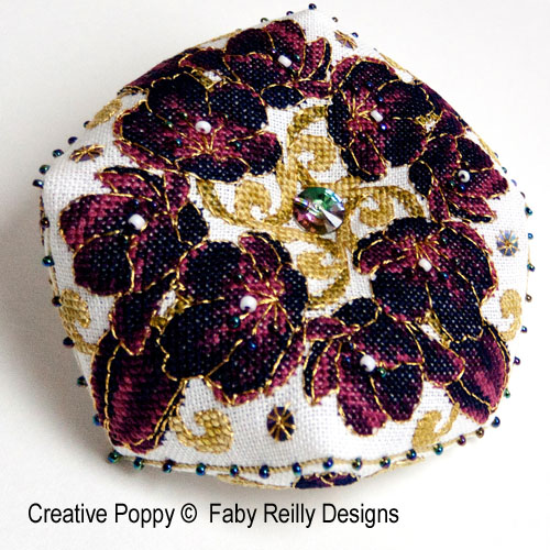 Black Tulip Biscornu cross stitch pattern by Faby Reilly Designs