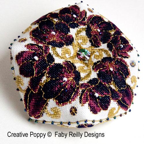 Black Tulip Biscornu cross stitch pattern by Faby Reilly Designs