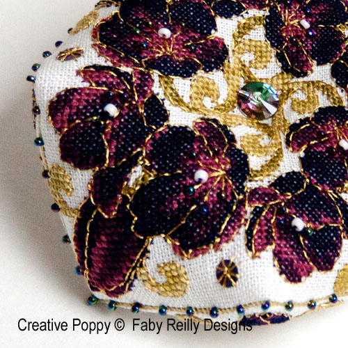 Black Tulip Biscornu cross stitch pattern by Faby Reilly Designs, zoom1