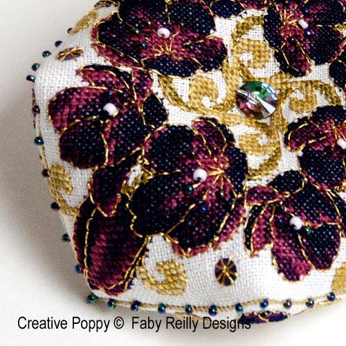 Black Tulip Biscornu cross stitch pattern by Faby Reilly Designs, zoom1