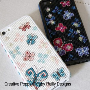 Butterfly iPhone case cross stitch pattern by Faby Reilly Designs