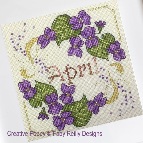 Anthea - April Violets cross stitch pattern by Faby Reilly Designs