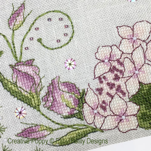 Anthea - August Hydrangea and Lisianthius cross stitch pattern by Faby Reilly Designs, zoom 1