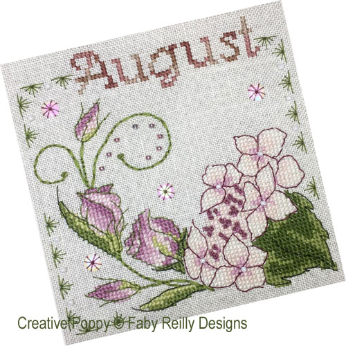 Anthea - August Hydrangea and Lisianthius cross stitch pattern by Faby Reilly Designs
