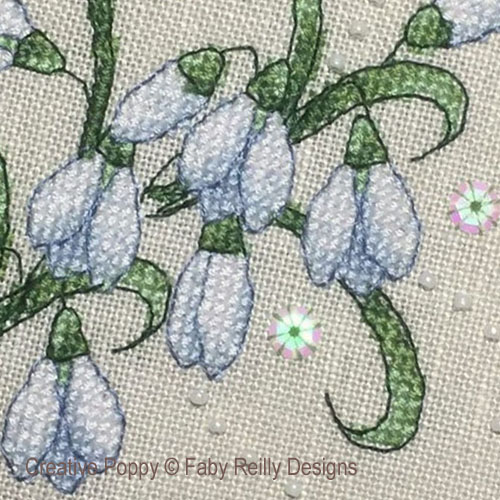 Anthea - January Snowdrops cross stitch pattern by Faby Reilly Designs, zoom 1