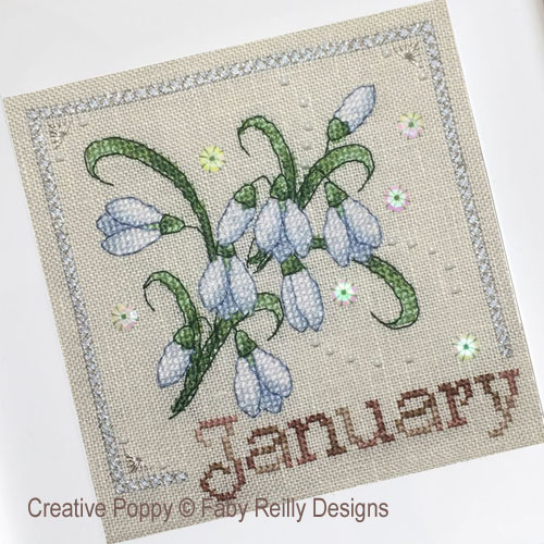 Anthea - January Snowdrops cross stitch pattern by Faby Reilly Designs