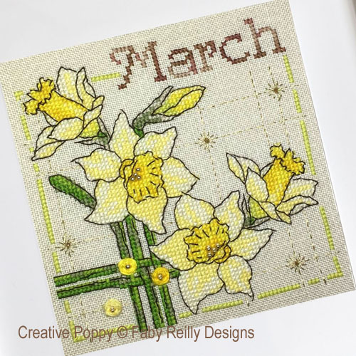 Anthea - March daffodills cross stitch pattern by Faby Reilly Designs