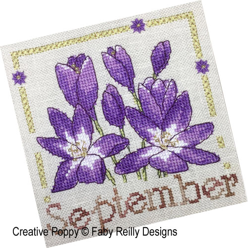 Anthea - September - Autumn Crocus cross stitch pattern by Faby Reilly Designs