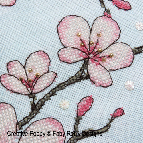 Cherry Blossom Cushion cross stitch pattern by Faby Reilly, zoom 1