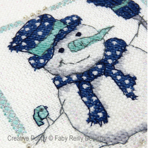 Navy & Mint Frames (set of 2 designs) cross stitch pattern by Faby Reilly designs, zoom 1