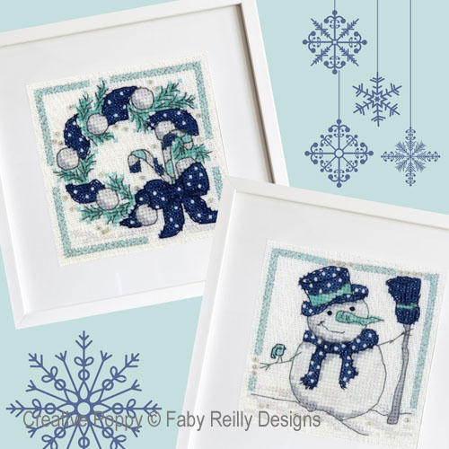 Navy & Mint Frames (set of 2 designs) cross stitch pattern by Faby Reilly designs
