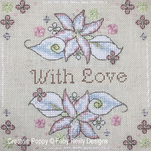 Anthea - February - Lilies & Arums cross stitch pattern by Faby Reilly Designs, zoom 1