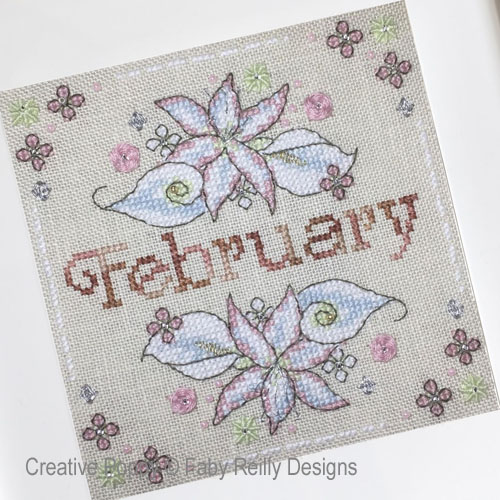 Anthea - February - Lilies & Arums cross stitch pattern by Faby Reilly Designs